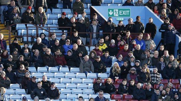 Lots of Aston Villa fans left early during the defeat by Liverpool