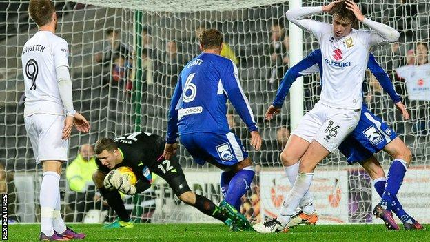 MK Dons defender Jack Hendry has his shot saved by Chesterfield goalkeeper Ryan Fulton