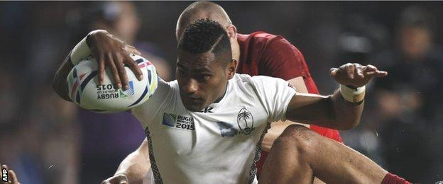 Fiji's Nikola Matawalu was denied a try as he dropped the ball just short of the try line