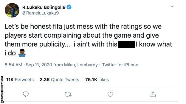 Romelu Lukaku tweets to say he Fifa just mess with player ratings to create publicity