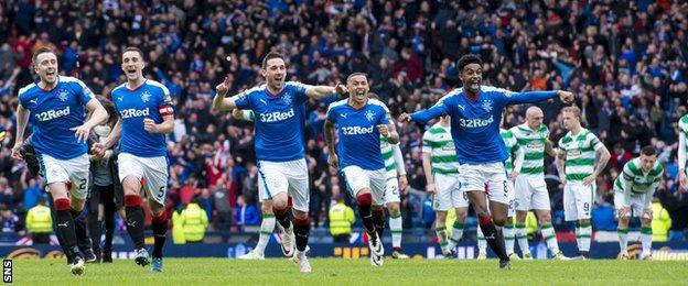 Rangers celebrate their shootout win over Celtic
