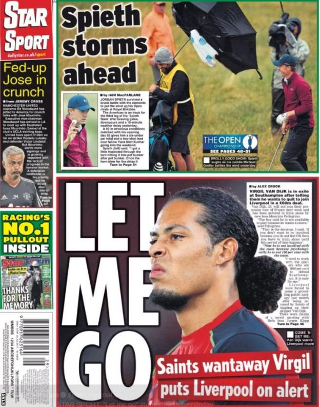 The Daily Star feature Southampton captain Virgil van Dijk asking to leave the club