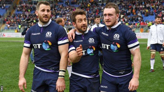 Tommy Seymour, Greig Laidlaw and Stuart Hogg after Scotland beat Italy