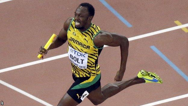 Usain Bolt competes in the 4x100m relay in Beijing
