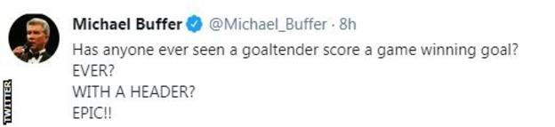 """Michael Buffer on Twitter says Alisson's header was """"epic,"""" and calls the Liverpool goalkeeper a """"goaltender"""""""