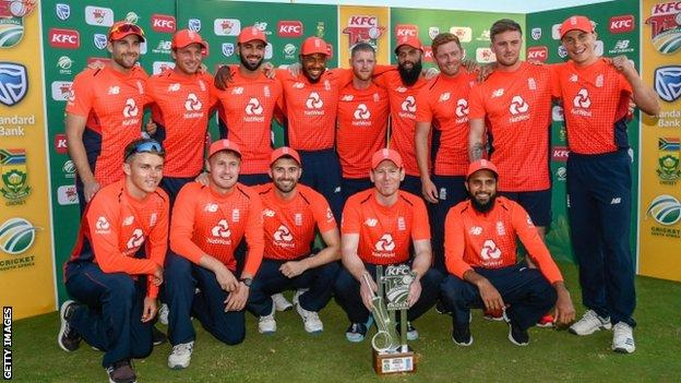 England with the T20 series trophy
