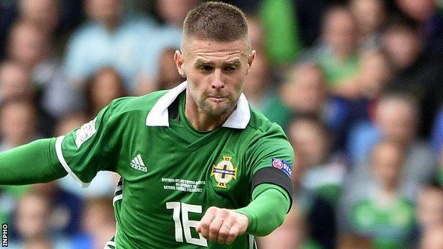 Oliver Norwood in action for Northern Ireland against Bosnia & Herzegovina last September