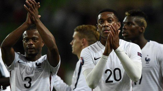 Anthony Martial with Patrice Evra and Paul Pogba