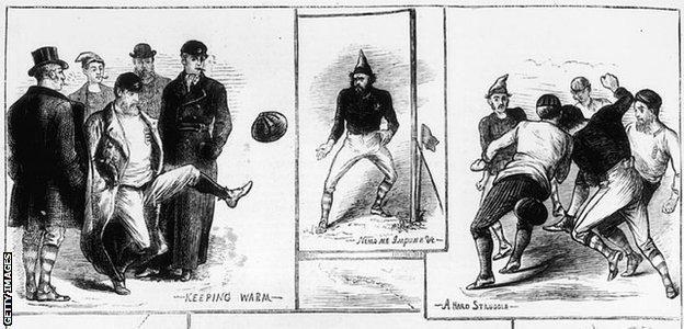 Scenes from England's first international, against Scotland in 1872, published in The Graphic on 14 December 1872. The original artist was a W. Ralston