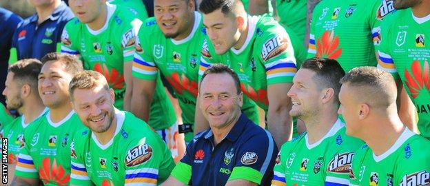 Canberra Raiders players have a laugh with Ricky Stuart