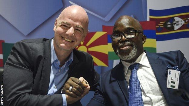 Fifa president Gianni Infantino and Caf vice-president Amaju Pinnick