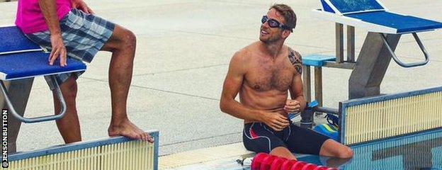 Jenson Button swims