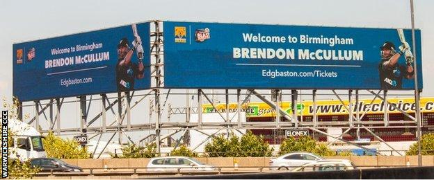 Welcome To Birmingham advert by the side of the M6 at Bescot