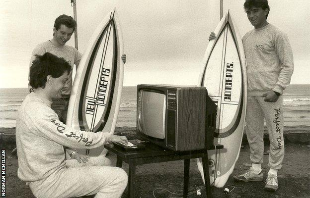 The Irish surfing team play Surf Champ on the beach in 1985 - sadly it was not plugged in