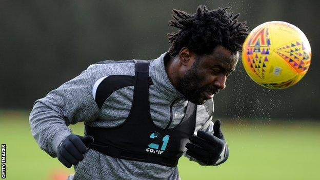 Wilfried Bony's final appearances for Swansea were in the Championship after the club were relegated from the Premier League in 2018