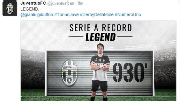 Juventus tweet Gianluigi Buffon's record