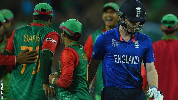 Eoin Morgan is dismissed for 0 as England lose to Bangladesh at the 2015 World Cup