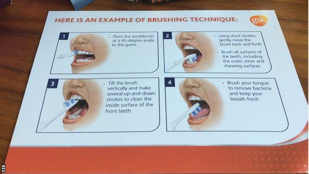 A leaflet with instructions on how to brush your teeth