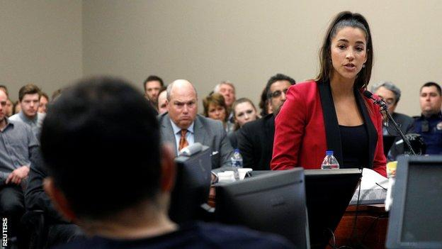 Olympic champion Aly Raisman was one of those who addressed the court at Larry Nassar's sentencing hearing