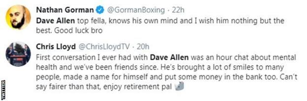 British heavyweight Nathan Gorman and boxing Presenter Chris Lloyd both pay tribute to Dave Allen
