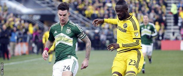 Liam Ridgewell of Portland Timbers and Kei Kamara of Columbus Crew in the 2015 MLS Cup final