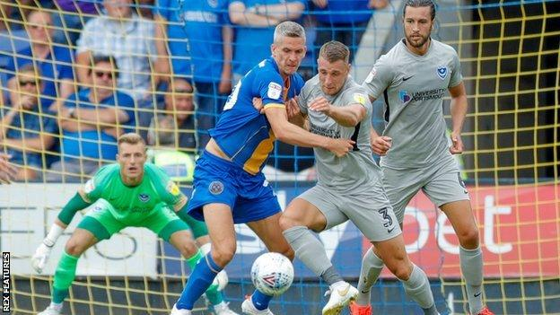 Steve Morison (centre) made his Shrewsbury debut in Saturday's 1-0 home win over Portsmouth