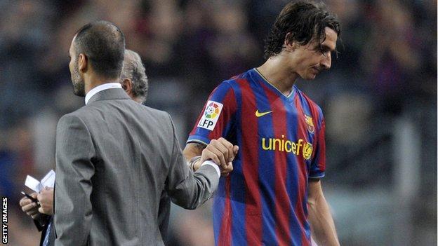 Zlatan Ibrahimovic and former Barcelona coach Pep Guardiola