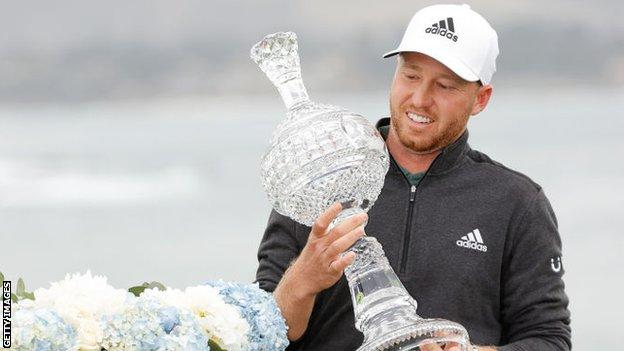 Daniel Berger with the Pebble Beach Pro-Am trophy