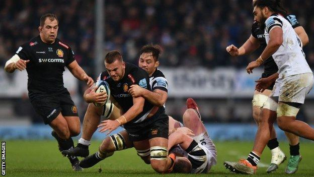 Exeter's young flanker Sean Lonsdale proved the matchwinner with the first try of his Chiefs career