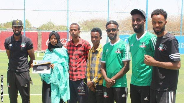 Somaliland Football Academy founders Ahmed Ali (far left), Mohammed Saeed (third from right), Hussein Adan and Abdisalam Ahmed