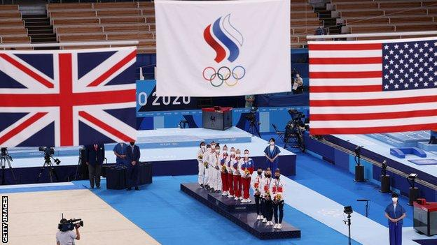Russian Olympic Committee gold medal gymnastics ceremony