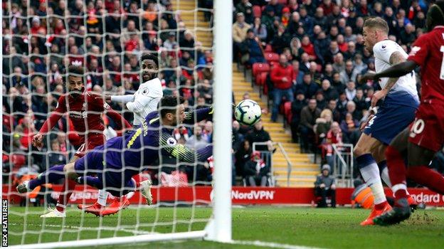 Lloris could only push Mohamed Salah's header against defender Toby Alderweireld