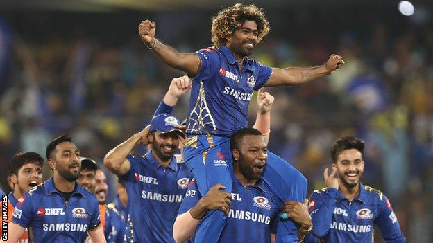 Mumbai Indians celebrate winning the 2019 IPL