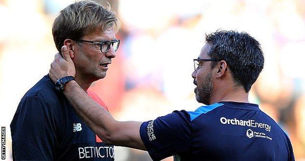 Liverpool manager Jurgen Klopp and Huddersfield boss David Wagner
