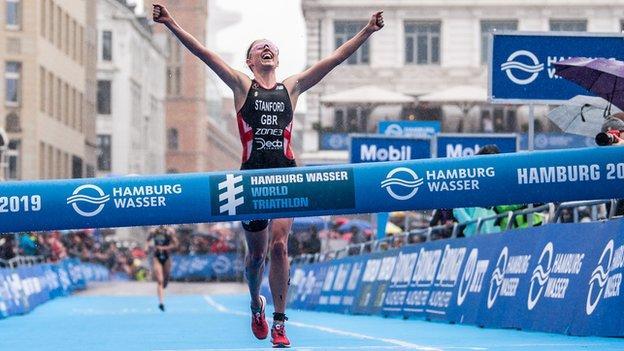 Non Stanford of Great Britain wins the ITU World Triathlon Elite women sprint distance during the Hamburg Wasser World Triathlon on July 06, 2019