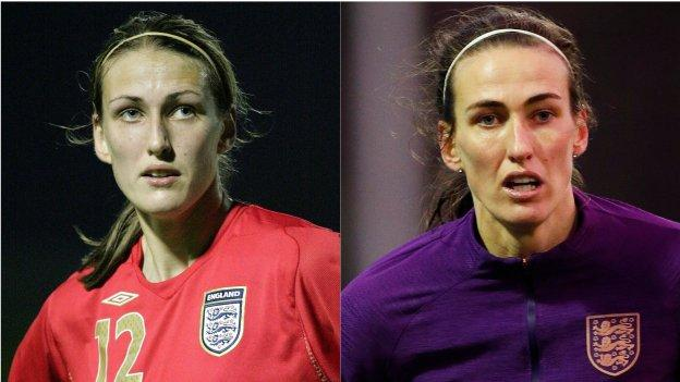 Then and now: Scott on England duty in 2009 (left) and this week