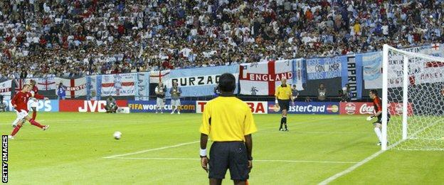 David Beckham scores a penalty to beat Argentina in Japan in 2002