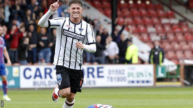 Dunfermline's David Hopkirk celebrates his goal