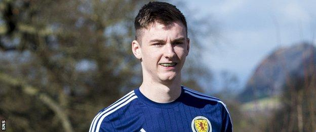 Celtic full-back Kieran Tierney in training with Scotland