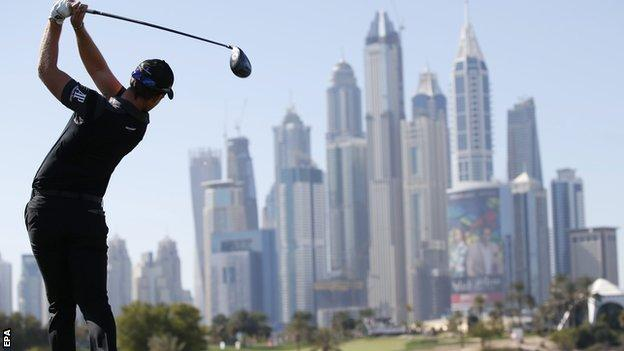 Danny Willett hits a tee shot during the Dubai Desert Classic