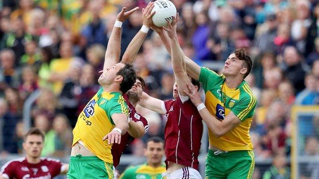 Battling for the high ball in the qualifier between Donegal and Galway on Saturday night