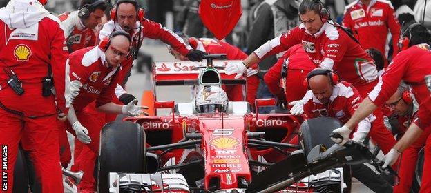 Sebastian Vettel pits