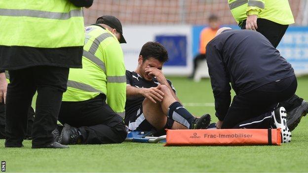 Dundee's Julen Etxabeguren lies injured
