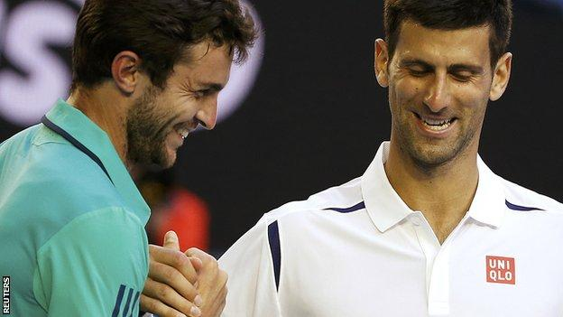 Novak Djokovic and Gilles Simon