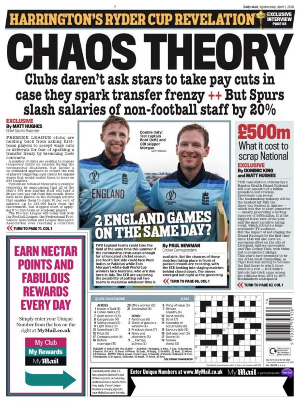 Mail back page for Wednesday, 1 April 2020