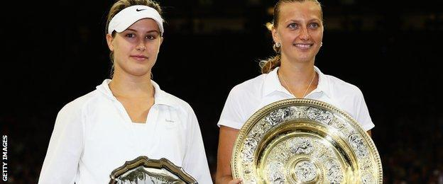 Eugenie Bouchard and Petra Kvitova after the 2014 Wimbledon final