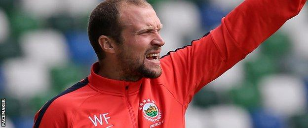 Linfield were top of the league when Feeney left them for Newport