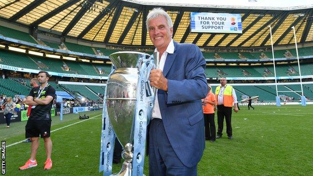 Saracens owner Nigel Wray with the Premiership trophy