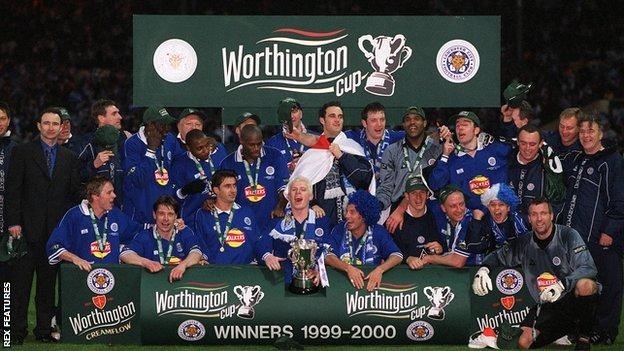 Leicester City's players celebrate winning the League Cup at Wembley in 2000