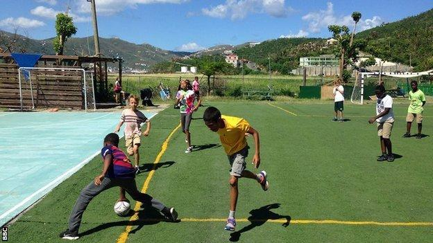 youngsters playing rugby on Tortola